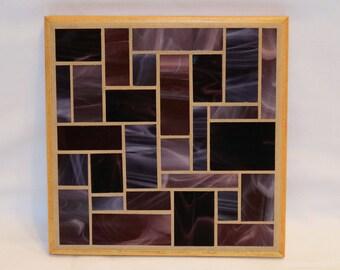 Purple glass mosaic trivet with wood trim