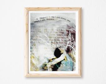 "Rejoice Print, Worship Wall Art, Scripture Art, Religious Gift, Bible Art, Christian Wall Art, Digital Collage Art, Purple Print, 8.5""x 11""."