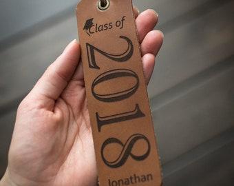 Personalized Bookmark, Custom Leather Bookmark, Named Bookmark, Graduation Gift - Tobacco