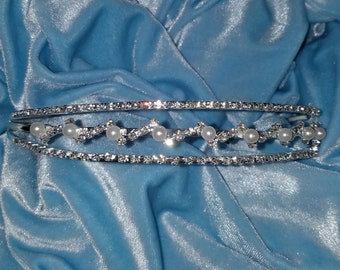 Head Band/Silver-Perl Tiara/Head viel/Head Band for Maternity Dress Photo Shoot-Hair Accessory