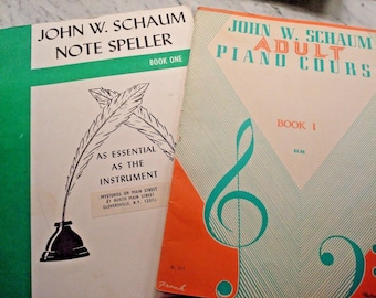 Vintage John W. Schaum Note Speller & Adult Piano Course - Both Book One - '46 - Great Vintage!!
