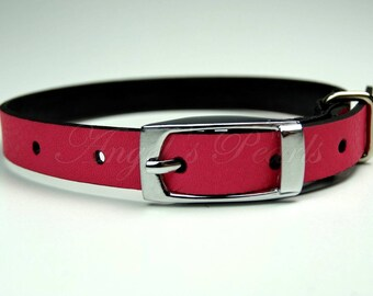 Nyx - Cat Collar Adjustable/Retractable / Handmade Solid Fuchsia Pink Genuine Leather