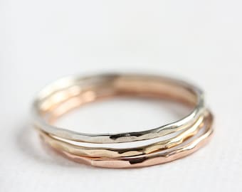 14k gold stack ring set, thin gold band, solid gold band, stacking rings, rose white yellow gold, recycled, eco friendly, size 4 to 9