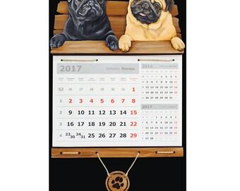 Calendar art Wall calendar Black pug Beige pug Dog calendar Handmade calendar Handpainted calendar Personalize calendar а3к46