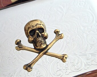 Skull & Crossbones Business Card Case Steampunk Card Case Vintage Inspired Gothic Victorian Steampunk Pirate Silver Plated Card Holder