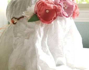 Floral halo, bridal,baptism,elegant,birthday,lace,spring