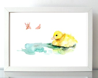 Duckling art - Duck Watercolor painting - Giclee Print - duckling Nursery Animal Painting - duckling illustration baby animal baby duck