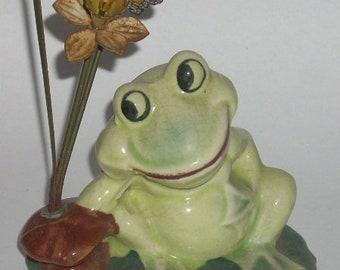 Vintage Mid Century Enesco Frog on Lily Pad Plant Planter Figurine