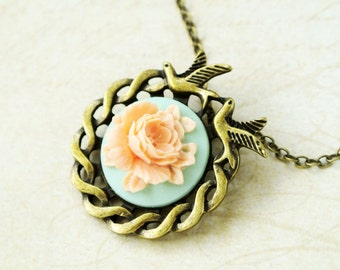 Peach flower necklace with birds gift for her- Vintage style floral jewelry gift for mom-Nature necklace-Rose necklace gift for women