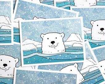 Polar Bear Holiday Card Set - 10 illustrated cards, Winter animal stationery