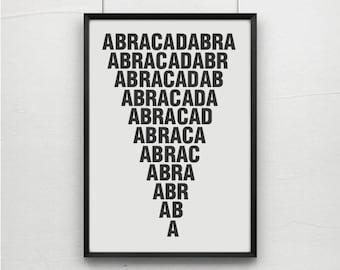 Abracadabra, magic quotes,magic typography, art prints, postes, typography art, typography posters, art,