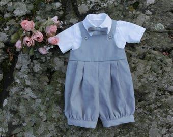 Baby boy romper Baby boy overalls Baby linen romper Boys overalls Baby boy dungarees Baby boy romper suit Grey linen romper Baby boy clothes