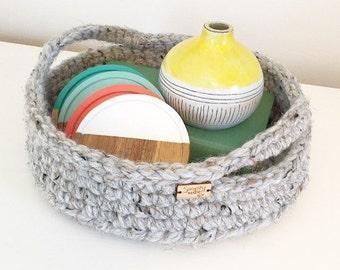 Graduation Gift / Crochet Basket / Crochet Tray / Storage Basket with Handles / Home Decor / Crochet Serving Tray / Farmhouse Decor