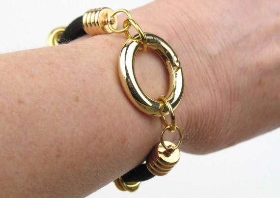 Cord Bracelet in Black and Gold with Double Mokuba Cord and  Circle Clasp