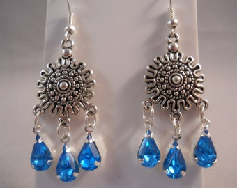 SALE Silver and Blue Rhinestone Chandelier Earrings