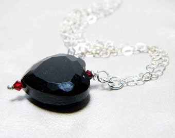 """READY TO SHIP Jet Black Crystal Heart Necklace Sterling Silver - """"Cold Hearted"""""""