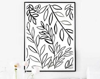Botanical Wall Art Prints,Black Leaves Print,Black and White Botanical,Black Botanical Print,Black White Leaves,Instant Download Art