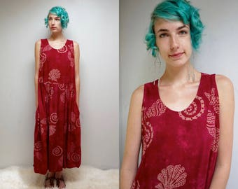 Batik Dress SUNDRESS Beach Dress Maternity Dress BABYDOLL Dress Overall Dress Oversized Dress FESTIVAL Dress Maxi Dress Hippie Dress 90s
