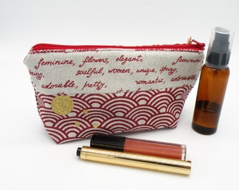 Pouch makeup pouch pencil storage bag, travel pouch, make-up, Red