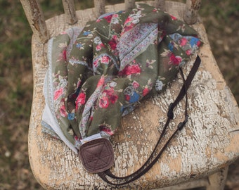 Green Floral Scarf Camera Strap