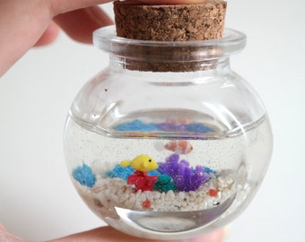 Miniature Polymer Clay & Resin Coral Reef in a Bottle - Round