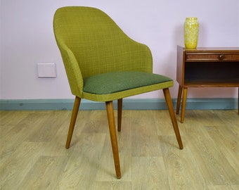 Mid Century Retro Vintage Danish Green Wool & Beech Lounge Side Chair 1950s 60s