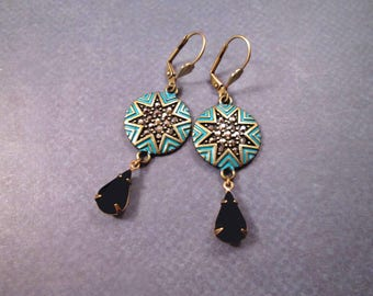 Pave Disc Earrings, Vintage Glass Drops, Teal Patina and Brass, Long Dangle Earrings, FREE Shipping U.S.