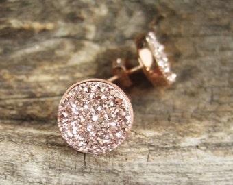 Rose Gold Druzy Studs, Rose Gold Druzy Earrings, Rose Gold Studs, Druzy Quartz Jewelry, Druzy Quartz Jewelry, Rose Gold Earrings