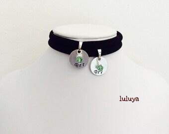Set of 2  Black Stretch Choker Necklace Hand Stamped BFF  Dangling Green Swarovski Crystal