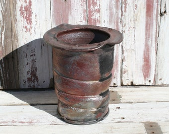 Raku Utensil Holder, Raku Vase, Kitchen Utensil Holder, Red Metallic Raku Pottery