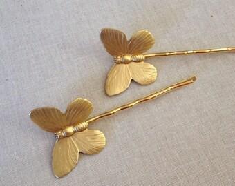 Gold Butterfly hair pins, pair, set, gift, hair, accessory, rustic, wedding, bridesmaid, hair clip, woodland, barn wedding, butterflies