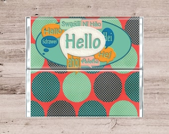 Hello Chocolate Bar Wrapper-Welcome Candy Wrapper-Welcome Chocolate Wrapper-Hello Candy Bar Wrapper-Welcoming Candy Bar Wrapper-Candy Bar