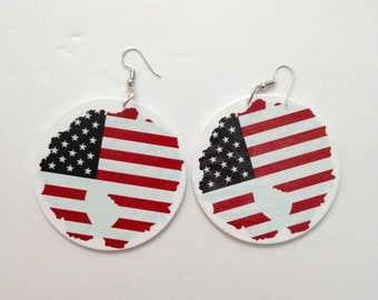Fourth of July Dangle Earrings, July 4th Afro Earrings, Patriotic African Earrings, Holiday Earrings, Red Earrings, Fourth of July Jewelry