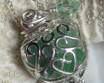 Sea Glass Necklace- Heart Locket of Sea Green Sea Glass