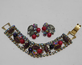 Vintage Red Aurora Borealis Rhinestone Bracelet and Earring Set