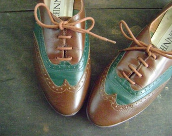 vintage CHOCOLATE MINT OXFORD shoes free domestic low international shipping