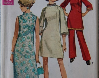 One Year Sale 1960s Simplicity 8513 Vintage Pattern Dress in Three Lengths and Pants in Half Sizes Bust 43 UC FF