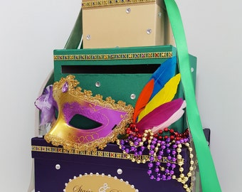 3 tier Wedding Card Box  Masquerade wedding card box Feathers Gift Card Box Money Box Holder--Customize your color