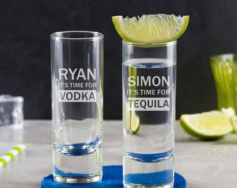 Engraved 'It's Tequila Time' Personalised Shot Glass