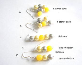 Yellow and Gray Pearl Earrings, Summer Earrings, Bridesmaid Earrings, Choose your Style, Grey and Yellow Drop and Dangle Earrings, Gift