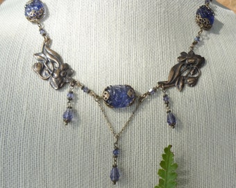 Tanzanite Floral Glass and Crystal Necklace