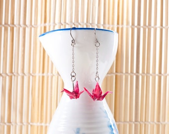 Origami earrings crane in red recycled paper on thin silver chain eco-friendly jewelry -MADE TO ORDER
