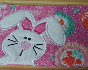 Easter Bunny Mug Rug - Applique Embroidered - Coffee Mat - Candle Mat Drink Coaster Gift - Decorative Snack Table Desk Mat - Rabbit - Pink
