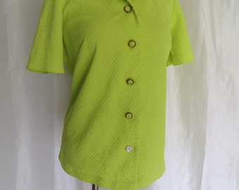 Vintage 70s womens blouse, shirt, top, short sleeve jacket, button down, neon green size L