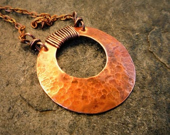 Hammered copper necklace, Copper pendant, Artisan jewelry, Large pendant, Short necklace, Metalwork
