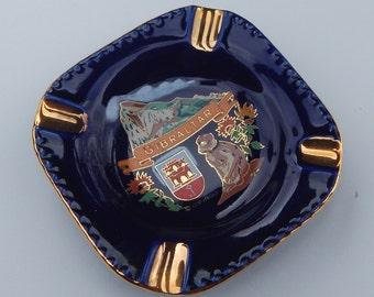 Cobalt Blue Gibraltar Souvenir Ashtray --  Gibraltar Ashtray  --  Personal Size Ashtray