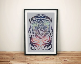 Star Tiger Poster - Geometric Tiger