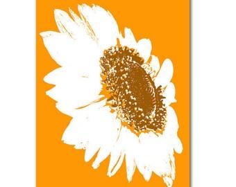 Shine like me  - Sunflower Fine Art Print, summer flower, sunflower on orange