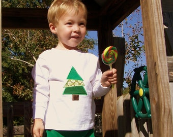 Christmas Tree Appliqued Tee Shirt and Corduroy Pants