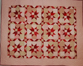 Red and Creme Star Quilt